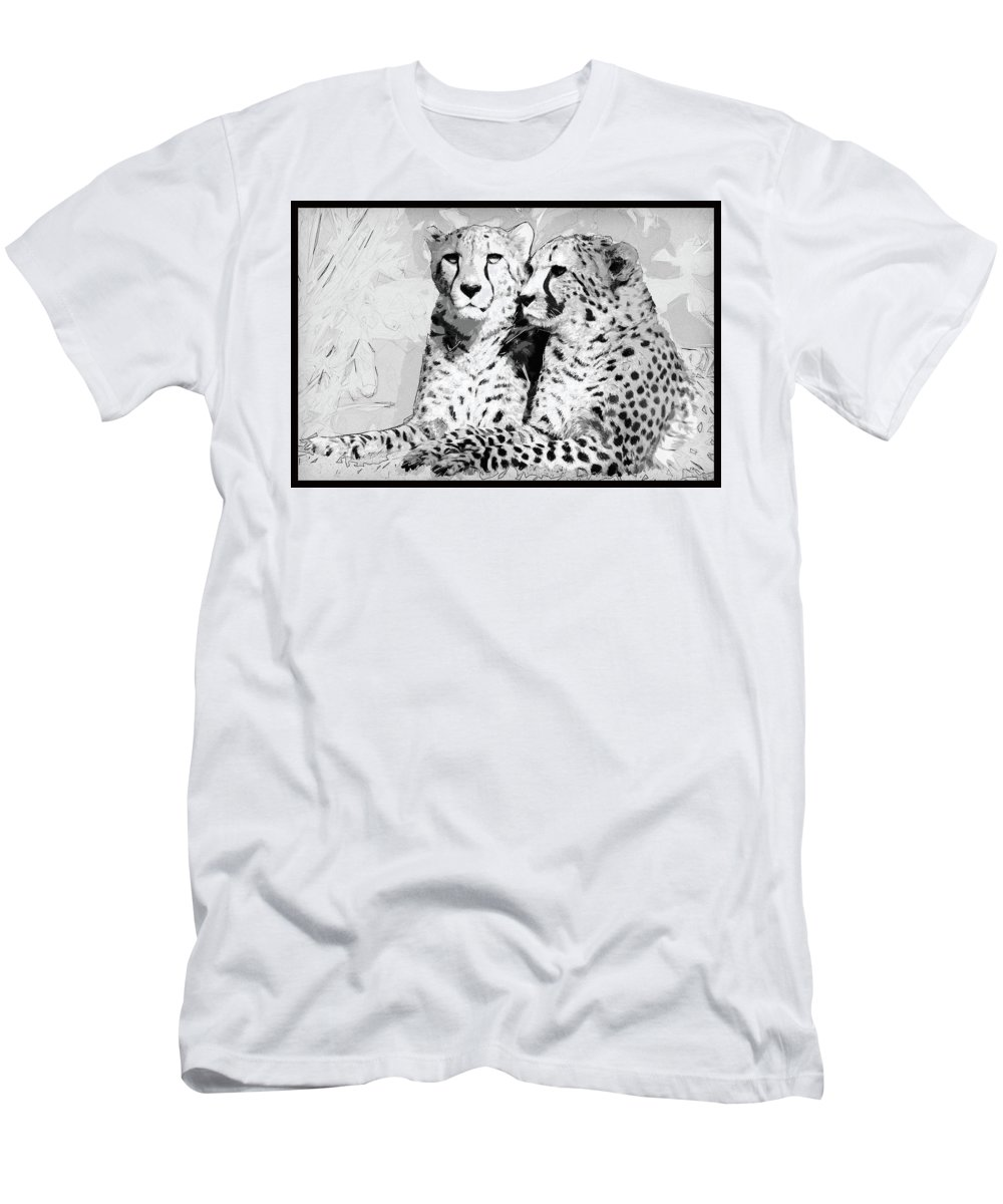 African Men's T-Shirt (Athletic Fit) featuring the photograph Two Cheetahs by Keith Furness