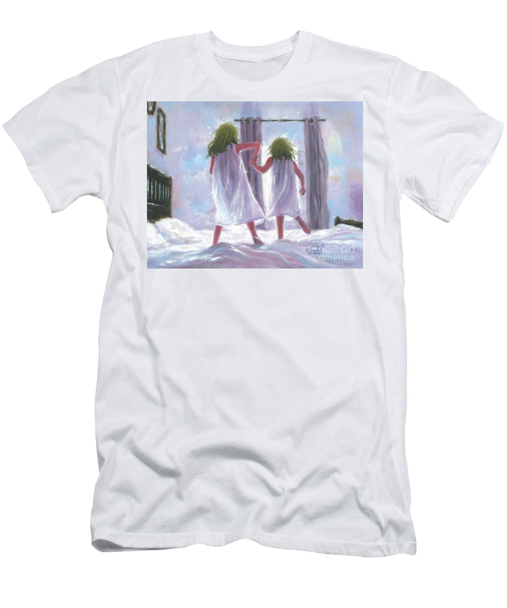 Two Sisters Bedroom Men's T-Shirt (Athletic Fit) featuring the painting Two Sisters Jumping On The Bed by Vickie Wade
