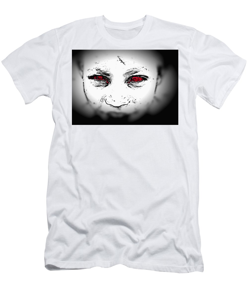 Eyes Face Looks Black And White Red Men's T-Shirt (Athletic Fit) featuring the digital art Untitled by Veronica Jackson