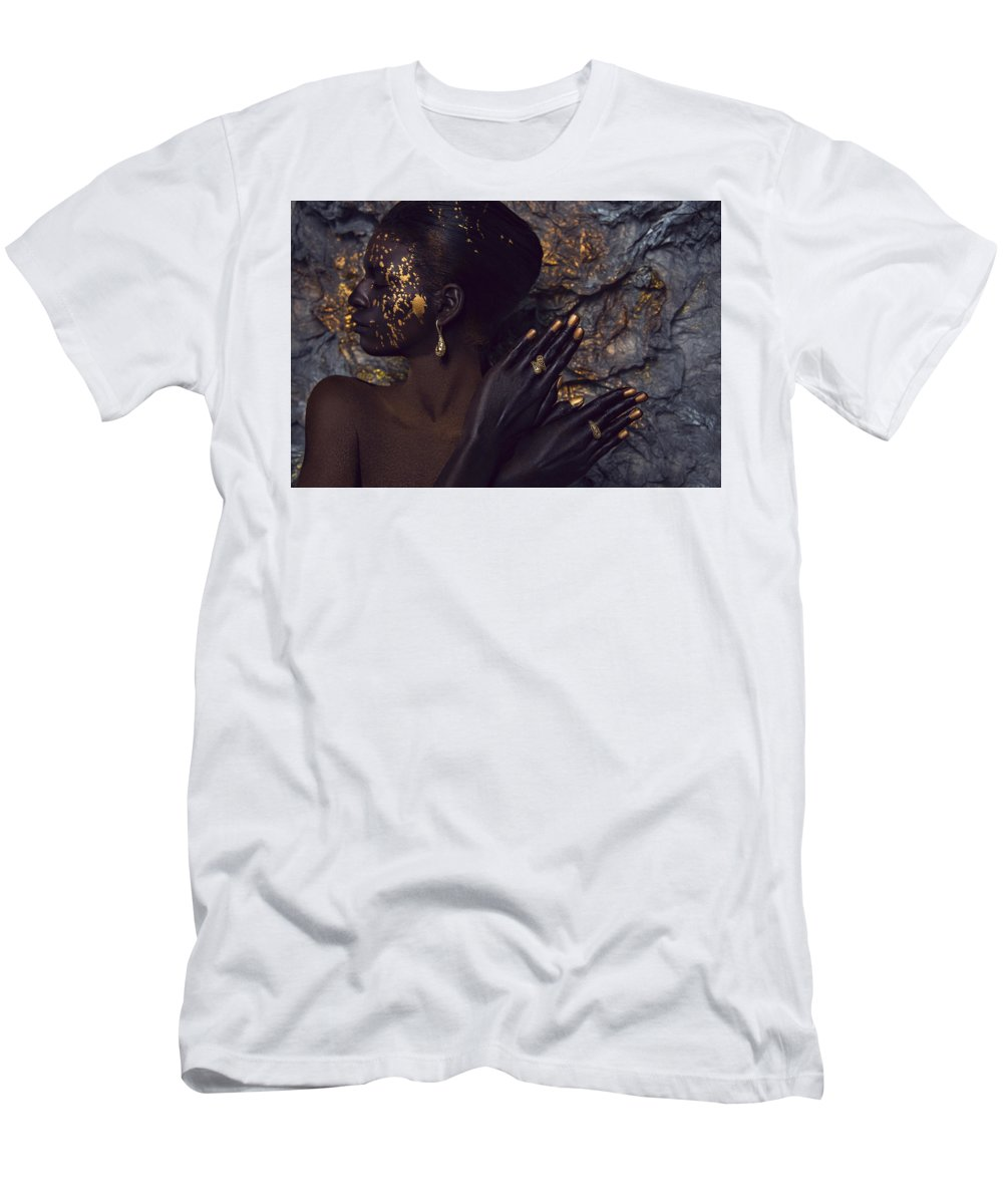 Beauty Shot Men's T-Shirt (Athletic Fit) featuring the photograph Woman In Splattered Golden Facial Paint by Veronica Azaryan
