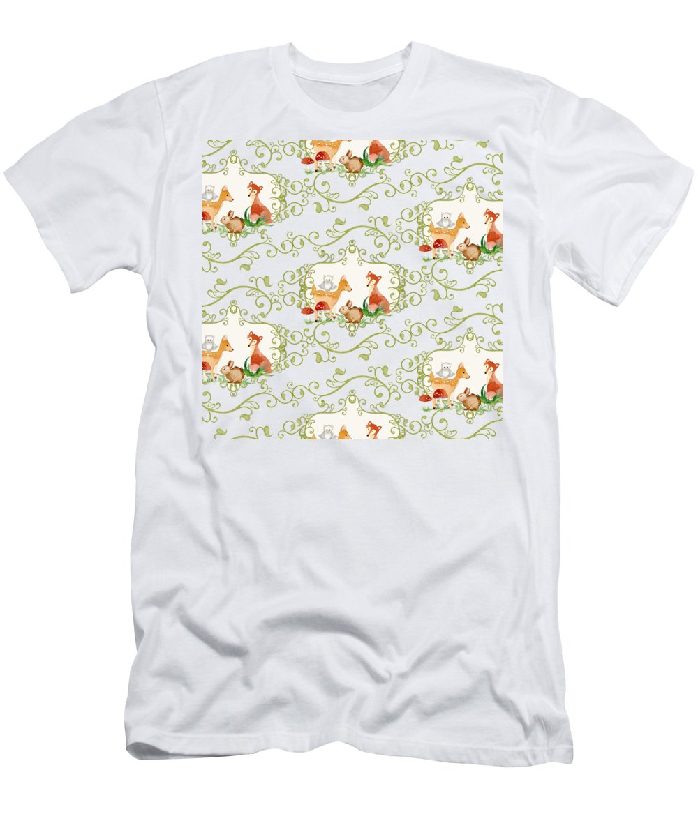 Woodchuck Men's T-Shirt (Athletic Fit) featuring the painting Woodland Fairytale - Animals Deer Owl Fox Bunny N Mushrooms by Audrey Jeanne Roberts