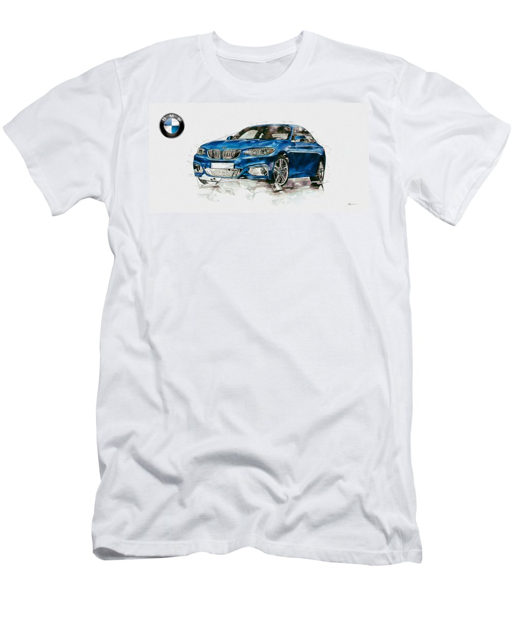 Wheels Of Fortune By Serge Averbukh Men's T-Shirt (Athletic Fit) featuring the photograph 2014 B M W 2 Series Coupe With 3d Badge by Serge Averbukh