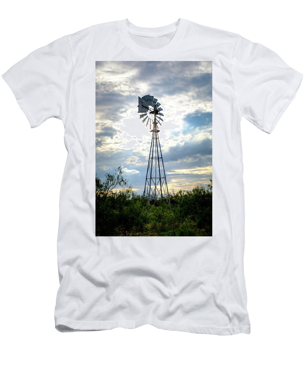 West Texas Men's T-Shirt (Athletic Fit) featuring the photograph 2017_08_midland Tx_windmill 2 by Brian Farmer