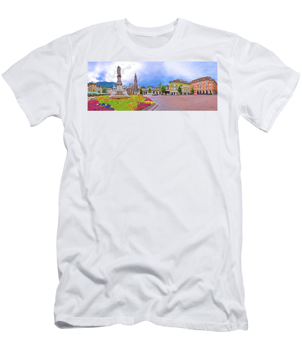Bolzano Men's T-Shirt (Athletic Fit) featuring the photograph Bolzano Main Square Waltherplatz Panoramic View by Brch Photography