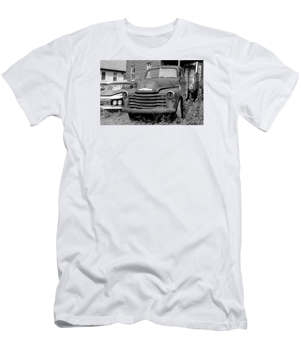 Chrysler Men's T-Shirt (Athletic Fit) featuring the photograph Old And Forgotten - Bw by Brian Manfra