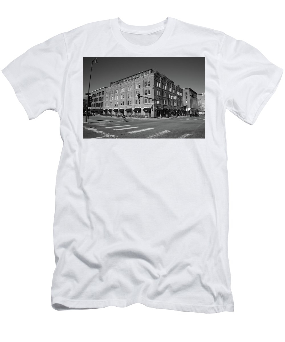 America Men's T-Shirt (Athletic Fit) featuring the photograph Denver - Lodo District by Frank Romeo