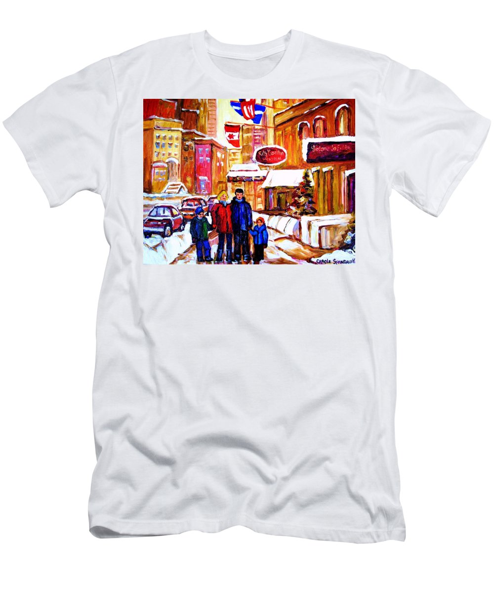 Montreal Men's T-Shirt (Athletic Fit) featuring the painting Montreal Street In Winter by Carole Spandau