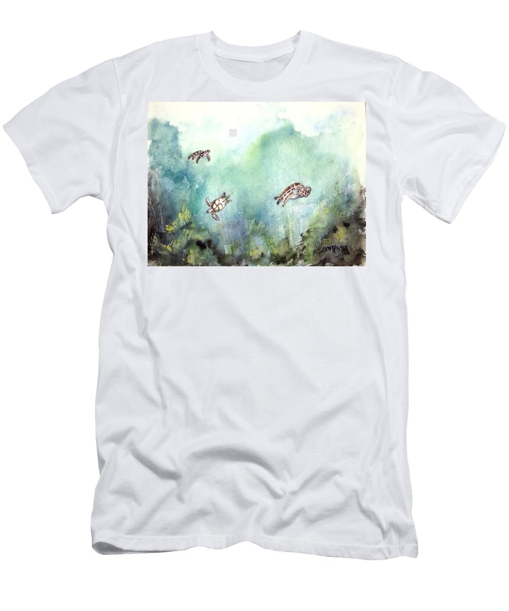 Turtle Men's T-Shirt (Athletic Fit) featuring the painting 3 Sea Turtles by Derek Mccrea
