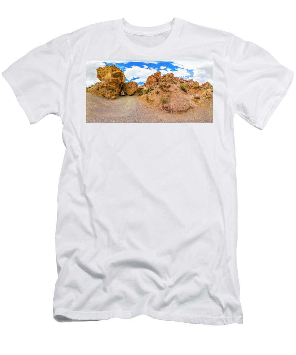 Panorama Men's T-Shirt (Athletic Fit) featuring the photograph Spherical Panorama From A Canyon Charyn by Yuliya Pravdyuk