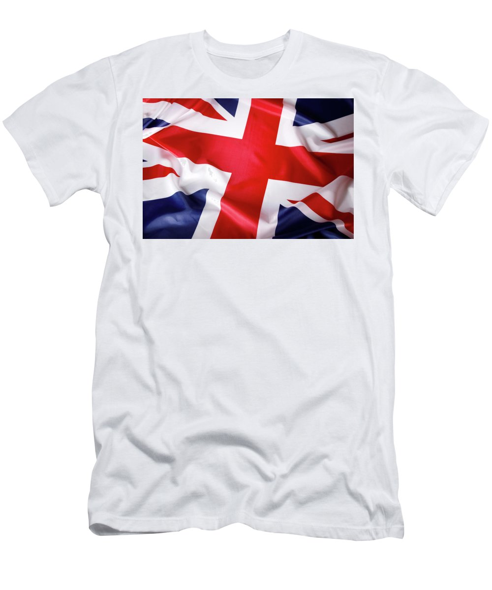 Flag Men's T-Shirt (Athletic Fit) featuring the photograph British Flag 7 by Les Cunliffe