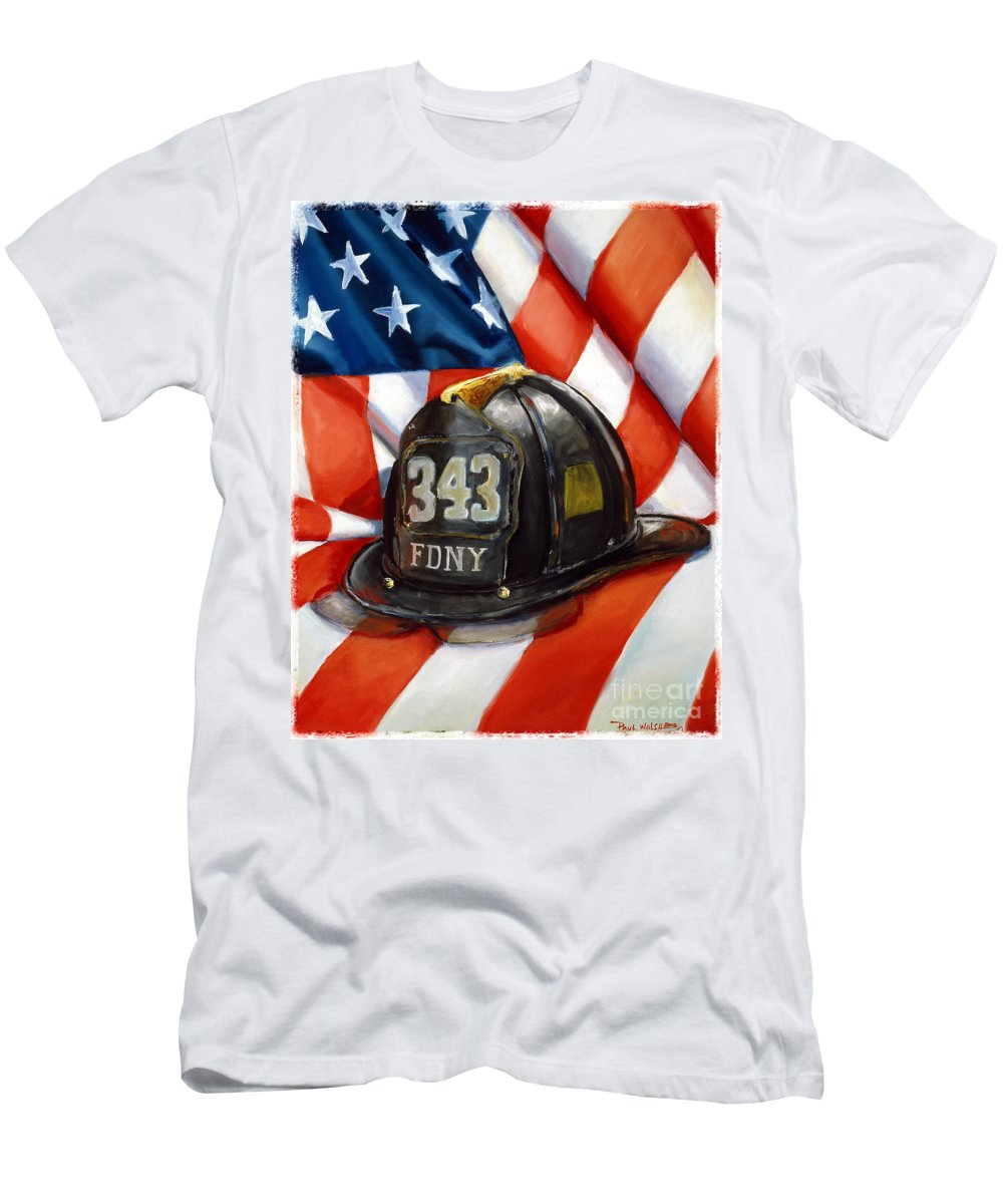 American Flag Men's T-Shirt (Athletic Fit) featuring the painting 343 by Paul Walsh