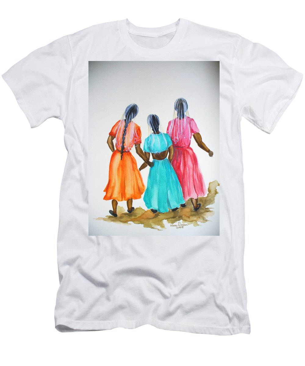Three Ladies East Indian T-Shirt featuring the painting 3bff by Karin Dawn Kelshall- Best