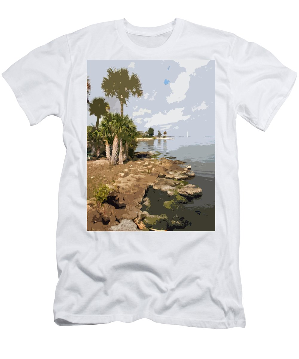 Castaway Men's T-Shirt (Athletic Fit) featuring the painting Castaway Point On The Indian River Lagoon With Coquina Rock by Allan Hughes