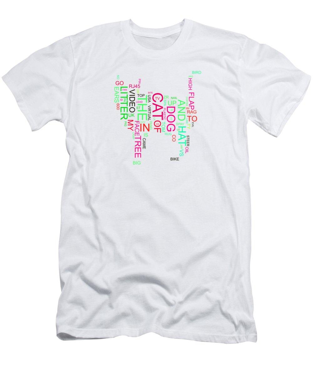 Cat Men's T-Shirt (Athletic Fit) featuring the digital art Cat by Elena Kosvincheva