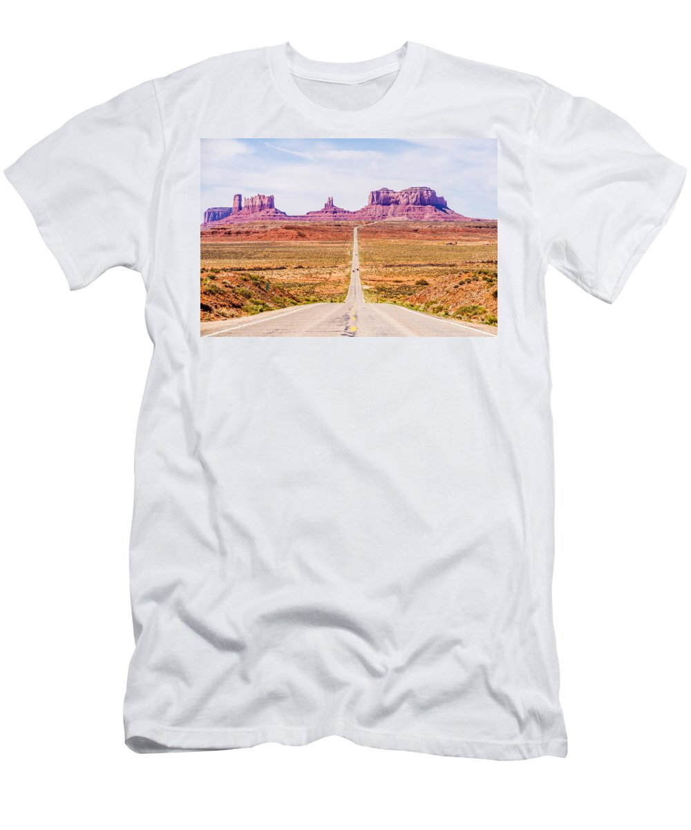Valley Men's T-Shirt (Athletic Fit) featuring the photograph descending into Monument Valley at Utah Arizona border by Alex Grichenko