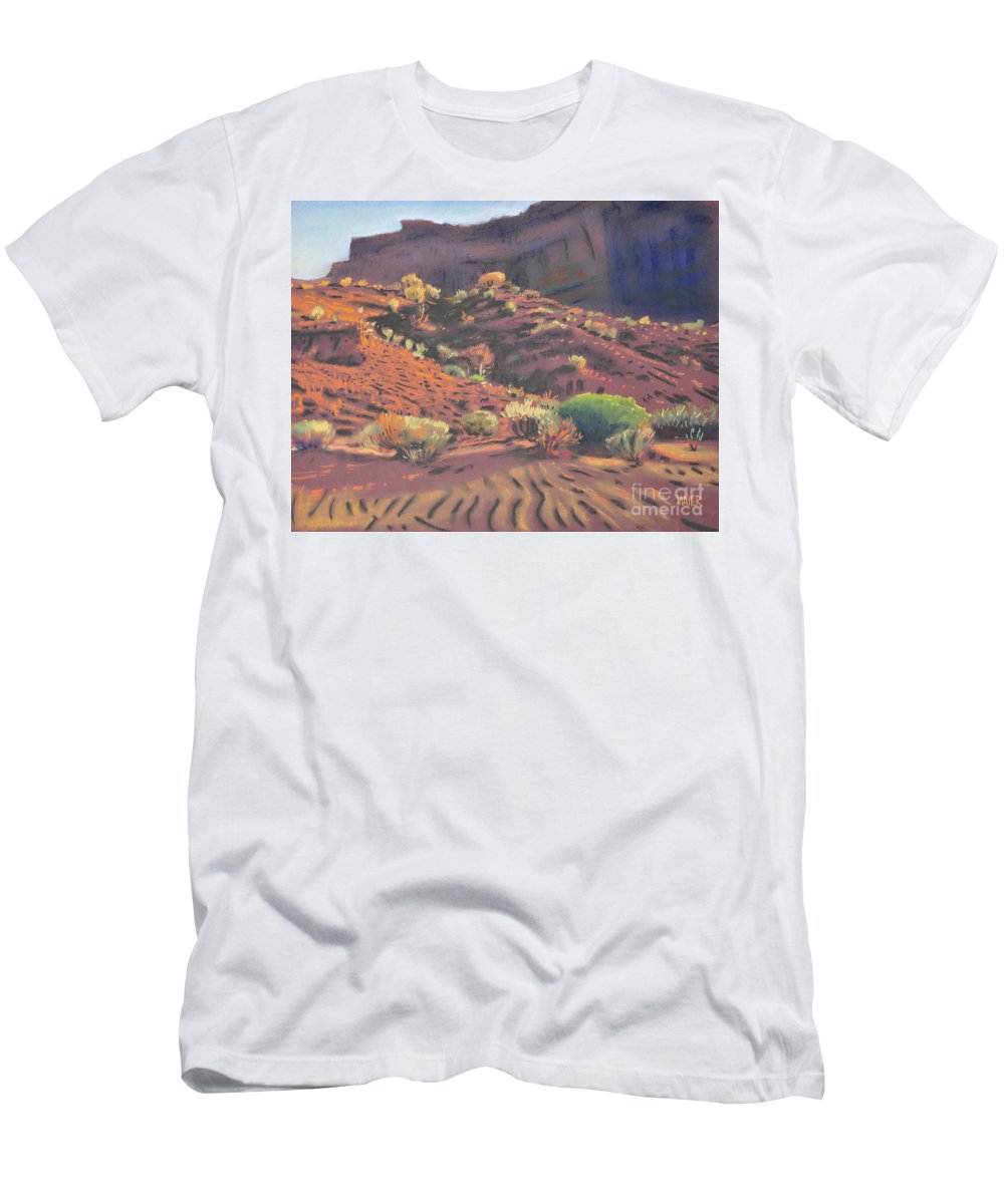 Monument Valley Men's T-Shirt (Athletic Fit) featuring the painting Mesa Shadows by Donald Maier