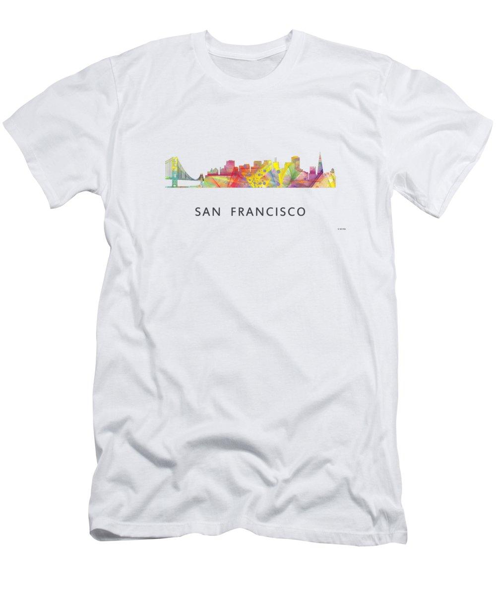 San Francisco California Skyline Men's T-Shirt (Athletic Fit) featuring the digital art San Francisco California Skyline by Marlene Watson