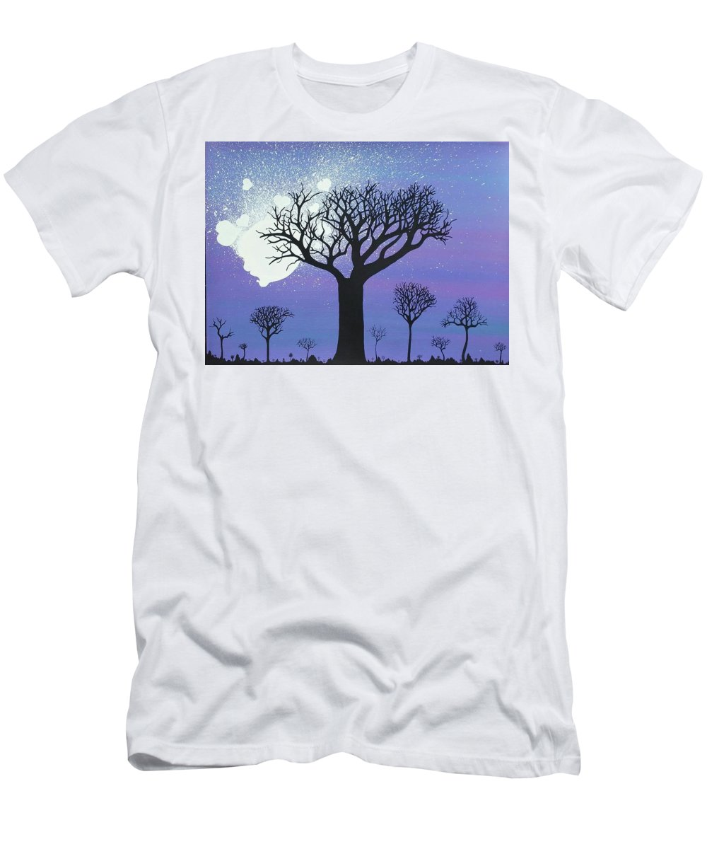 Moon Men's T-Shirt (Athletic Fit) featuring the painting Tree Love by Dan Schepperly