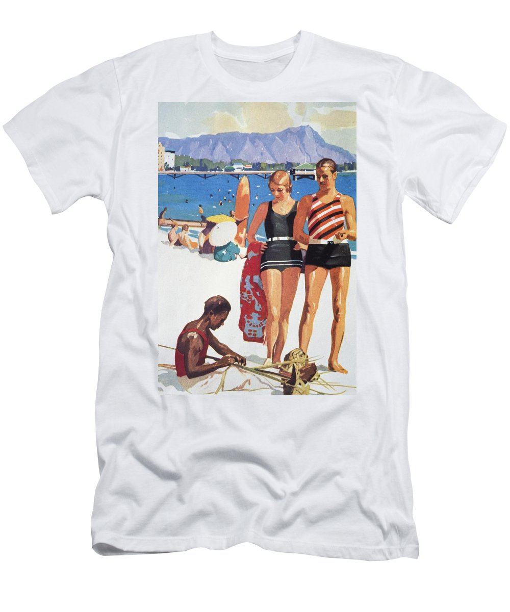 1927 Men's T-Shirt (Athletic Fit) featuring the painting Vintage Hawaiian Art by Hawaiian Legacy Archive - Printscapes
