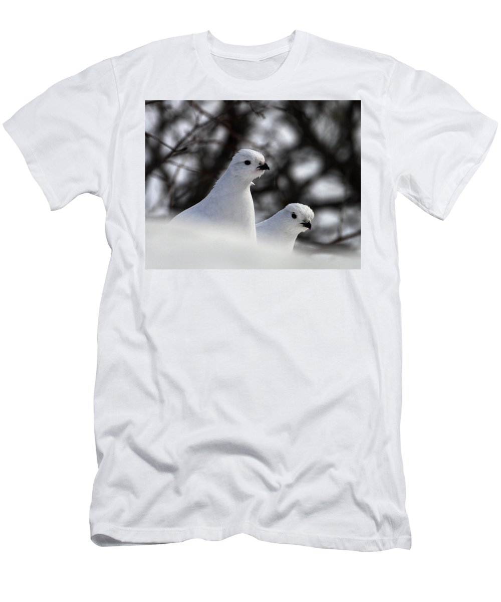 Doug Lloyd Men's T-Shirt (Athletic Fit) featuring the photograph Willow Ptarmigan by Doug Lloyd