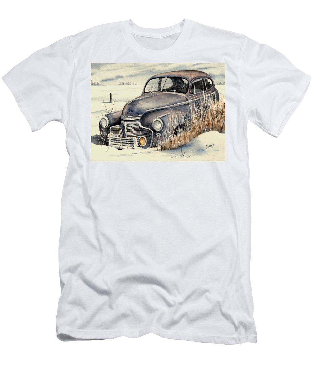 Auto Men's T-Shirt (Athletic Fit) featuring the painting 40 Chevy by Sam Sidders