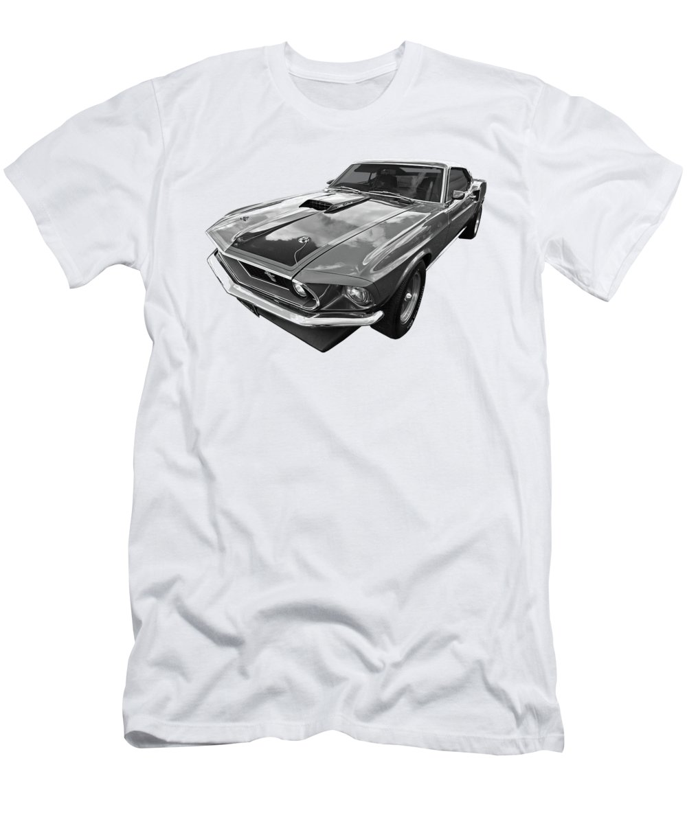 428 Cobra Jet Mach1 Ford Mustang 1969 In Black And White T Shirt For Mach 1 Fastback Cj Mens Athletic Fit Featuring The Photograph