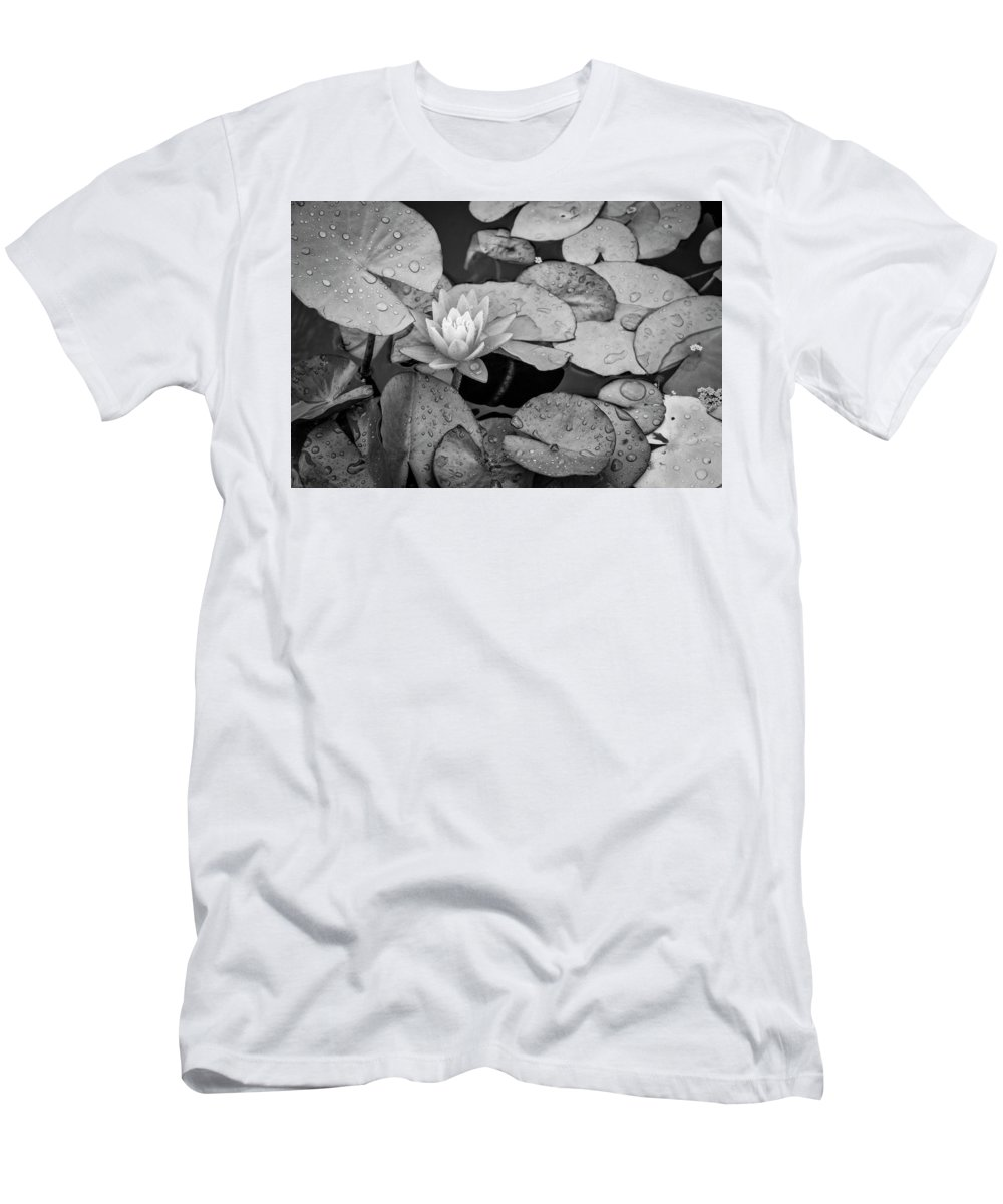 Lily Pad Men's T-Shirt (Athletic Fit) featuring the photograph 4434- Lily Pads Black And White by David Lange