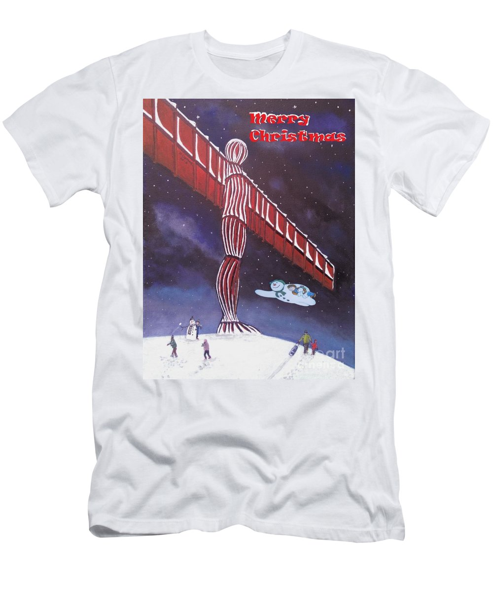 Angel Christmas Men's T-Shirt (Athletic Fit) featuring the painting Angel Of The North by Neal Crossan