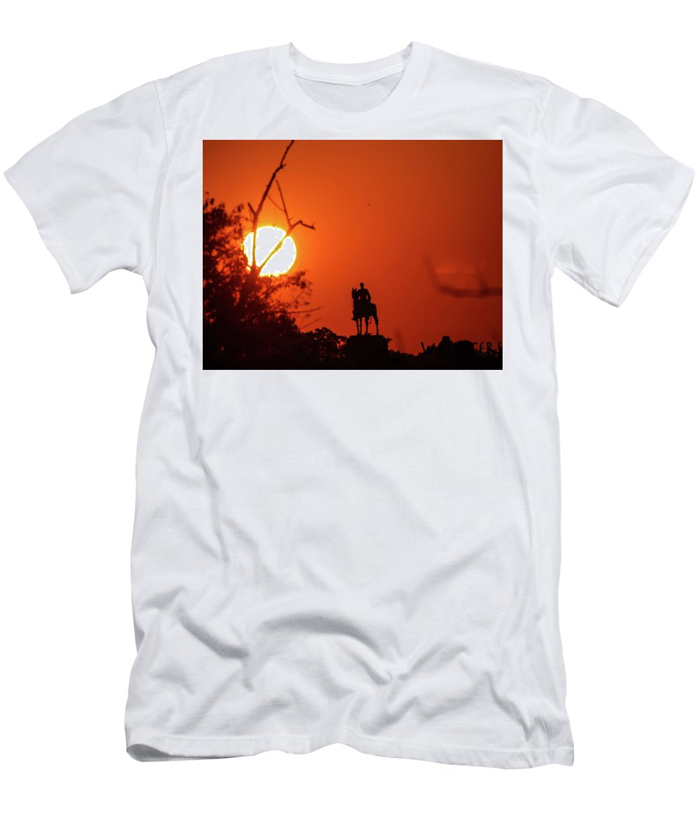 This Is A Photo Of Sunrise Taken From The Emmitsburg Road Men's T-Shirt (Athletic Fit) featuring the photograph Sunrise At Gettysburg by William Rogers