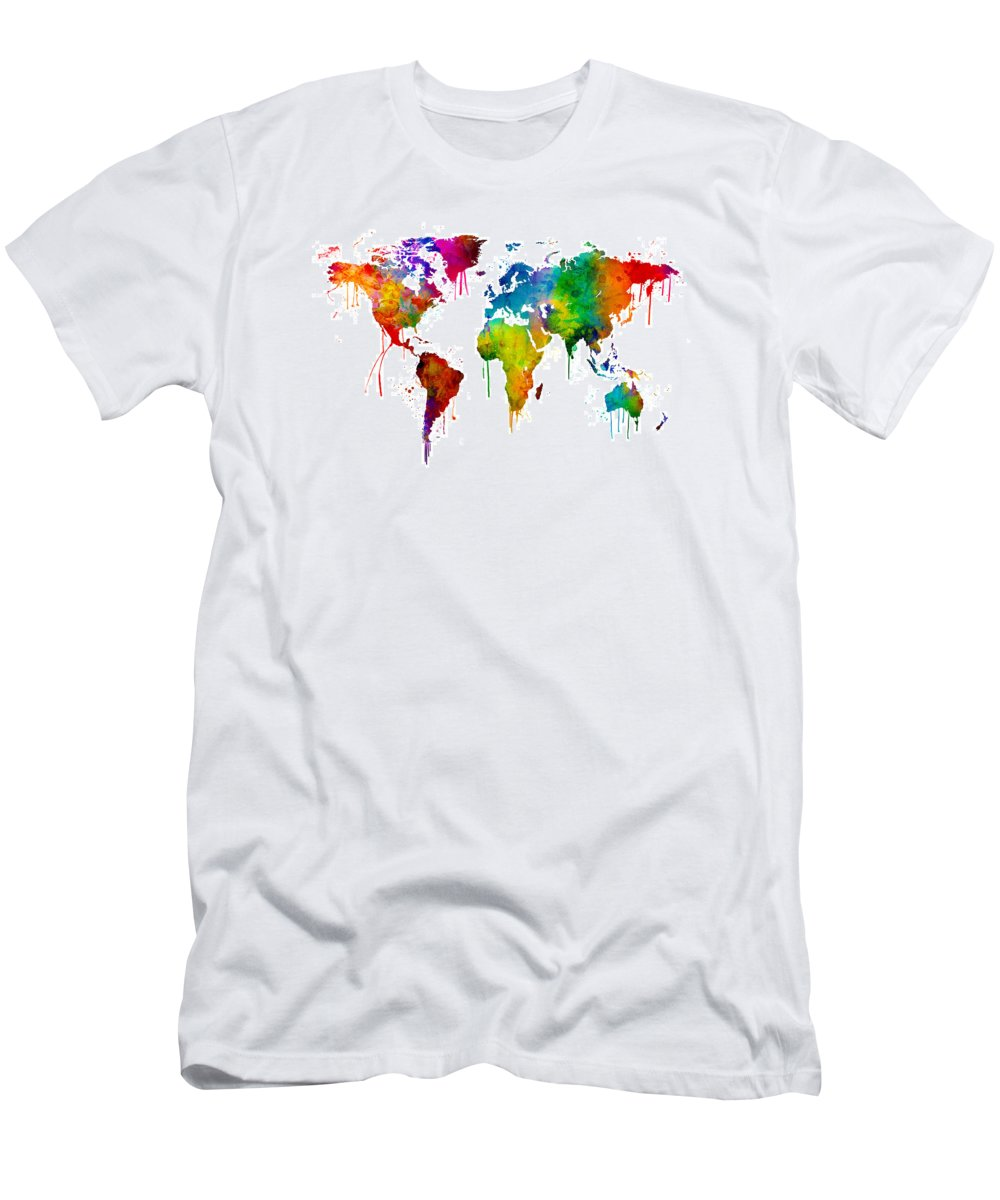 Watercolor Map Of The World Map T Shirt For Sale By Michael Tompsett