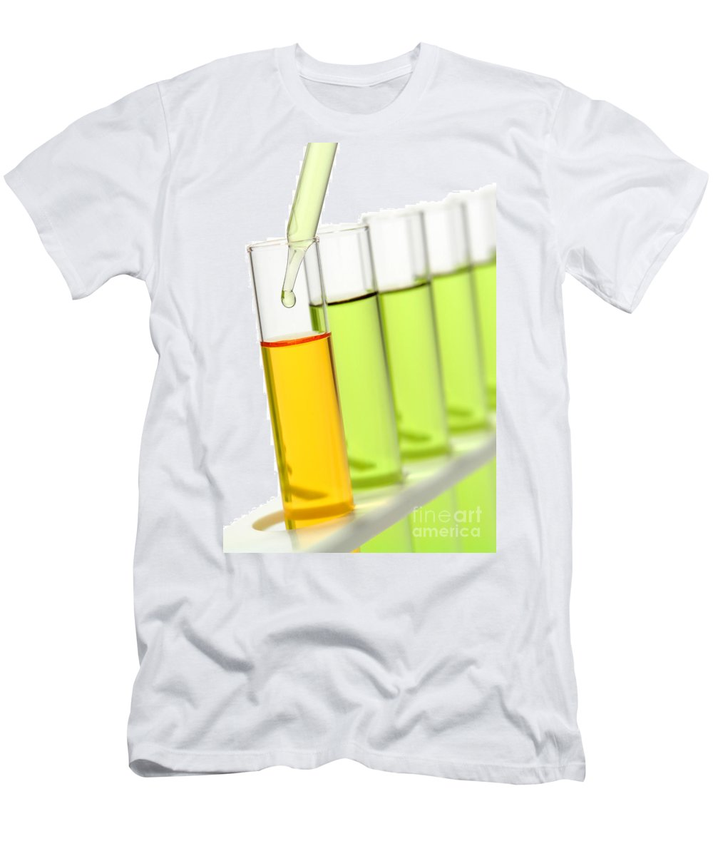 Chemical Men's T-Shirt (Athletic Fit) featuring the photograph Laboratory Experiment In Science Research Lab by Olivier Le Queinec