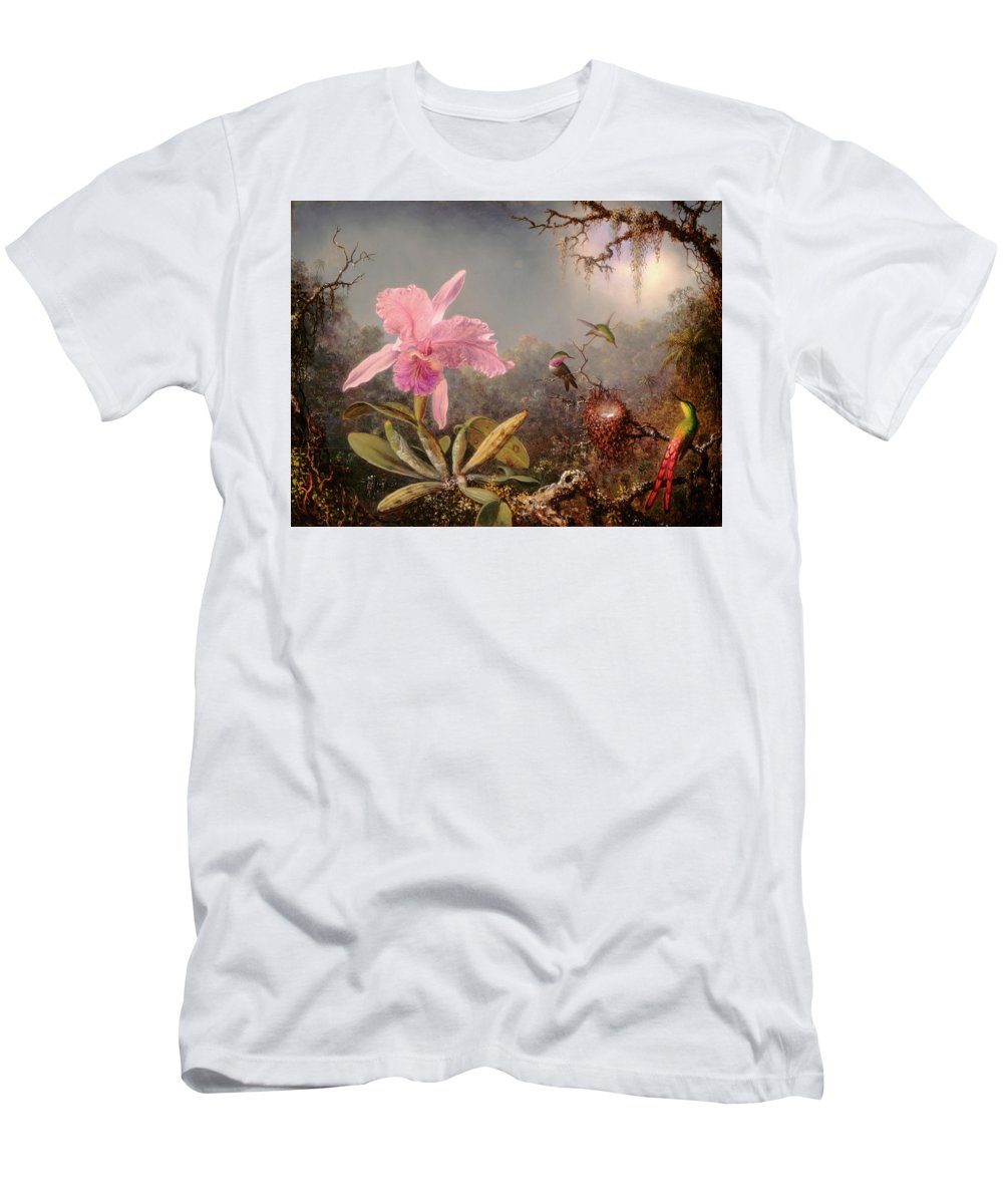 Cattleya Orchid T-Shirt featuring the painting Cattleya Orchid And Three Hummingbirds by Martin Johnson Heade