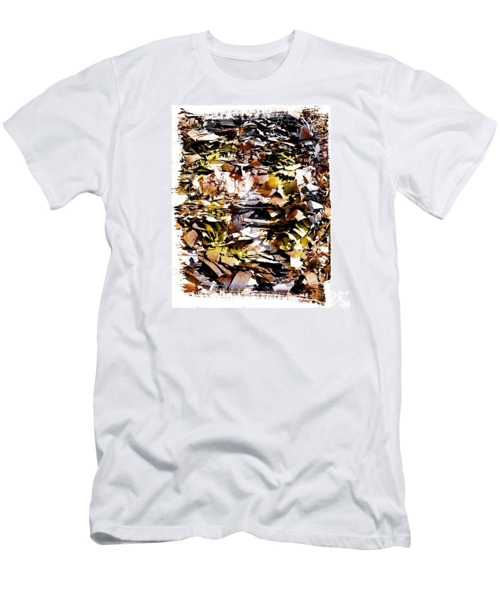 Yards Men's T-Shirt (Athletic Fit) featuring the photograph Compressed Pile Of Paper Products by Bernard Jaubert