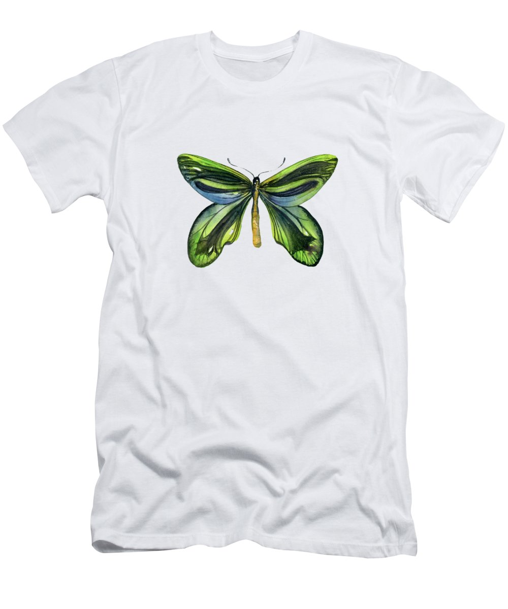 Queen Alexandra Butterfly Men's T-Shirt (Athletic Fit) featuring the painting 6 Queen Alexandra Butterfly by Amy Kirkpatrick