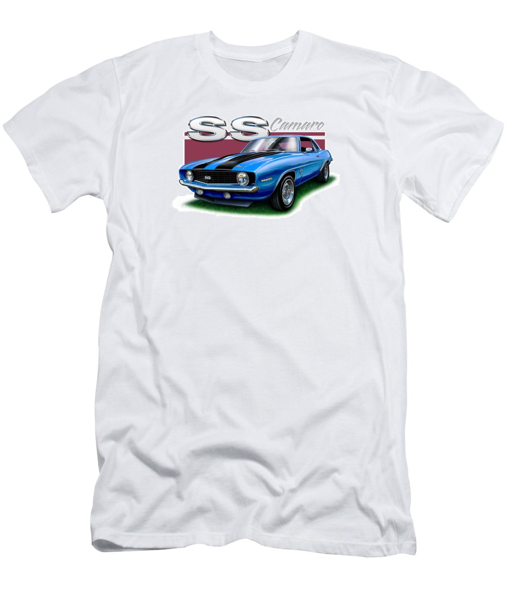 1969 Men's T-Shirt (Athletic Fit) featuring the digital art 69 Camaro Ss In Blue by David Kyte