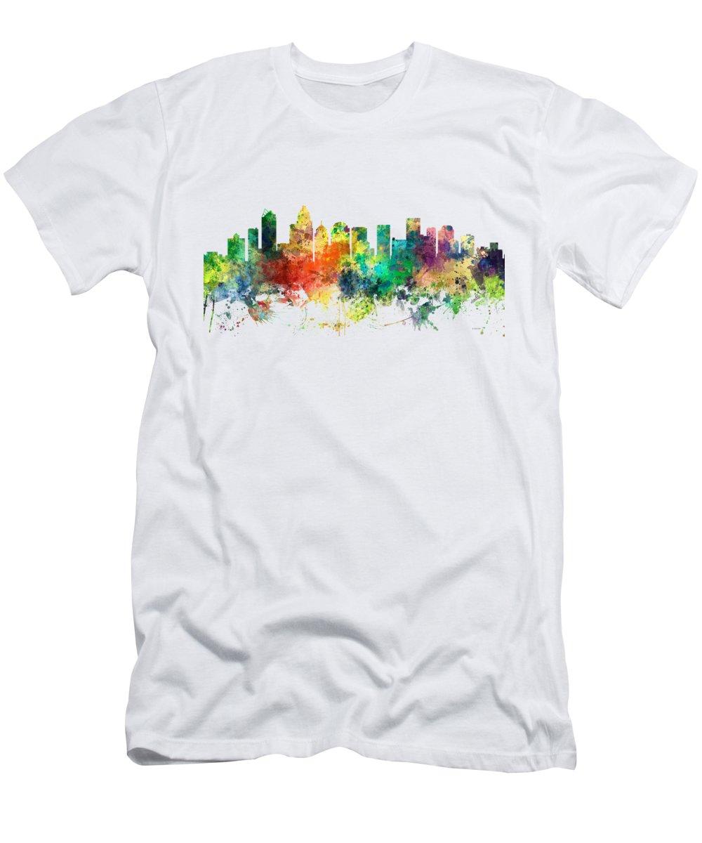 Charlotte Nc Skyline Men's T-Shirt (Athletic Fit) featuring the digital art Charlotte Nc Skyline by Marlene Watson