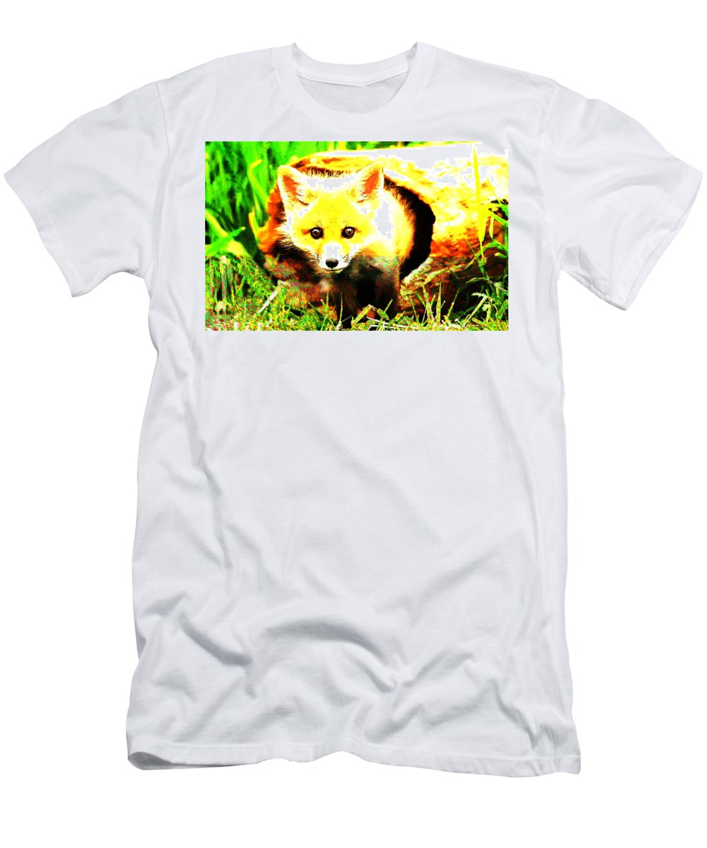 Fox Men's T-Shirt (Athletic Fit) featuring the digital art Fox by Lora Battle