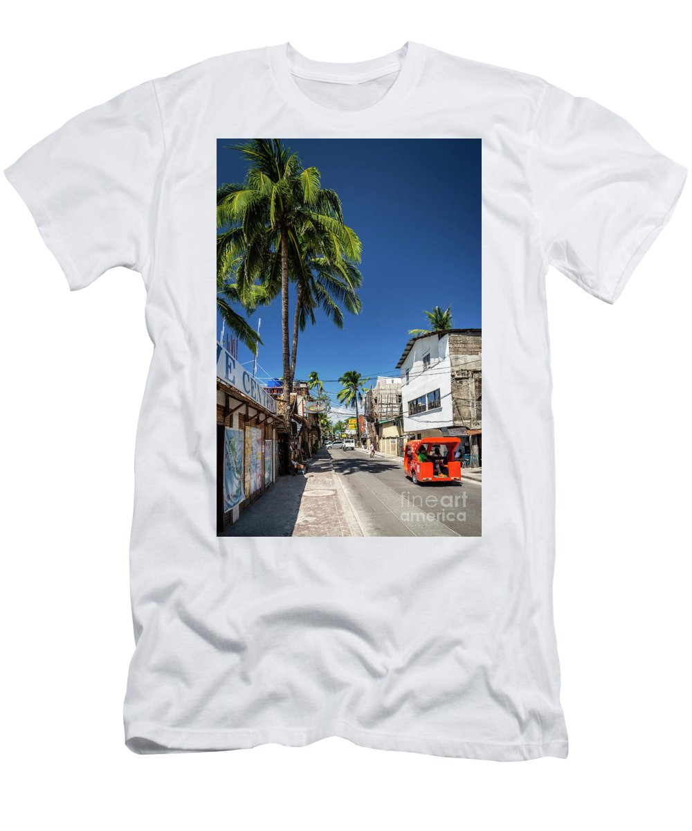 Area Men's T-Shirt (Athletic Fit) featuring the photograph Tuk Tuk Trike Taxi Local Transport In Boracay Island Philippines by Jacek Malipan