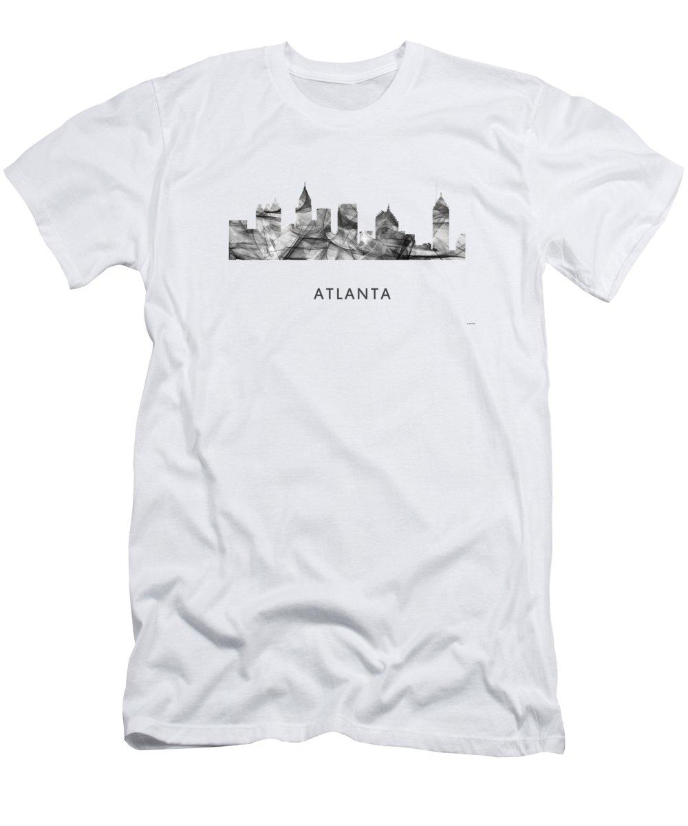 Atlanta Georgia Skyline Men's T-Shirt (Athletic Fit) featuring the digital art Atlanta Georgia Skyline by Marlene Watson