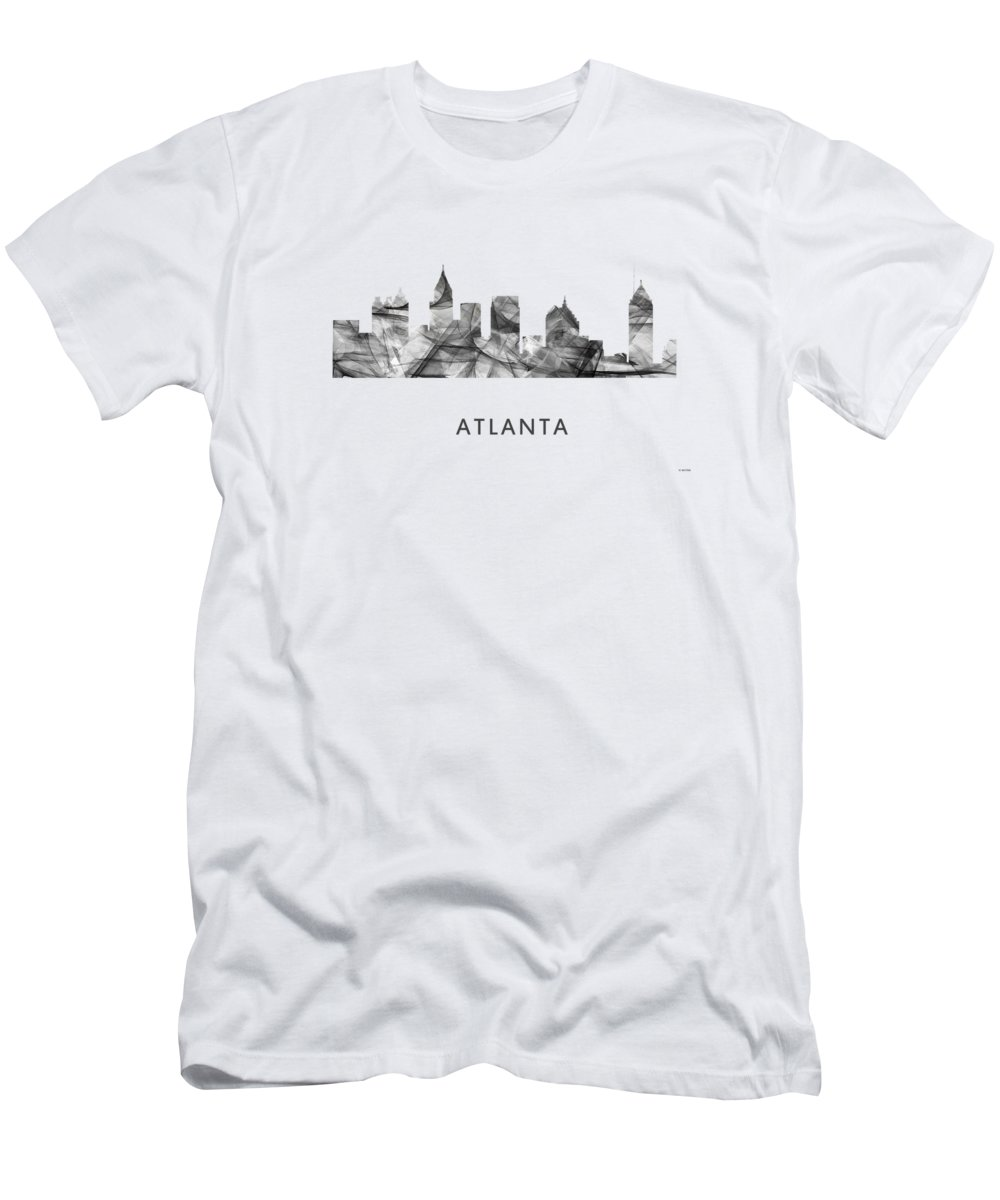 Atlanta Georgia Skyline Men's T-Shirt (Athletic Fit) featuring the digital art Atlanta Georgia Skyline 8 by Marlene Watson
