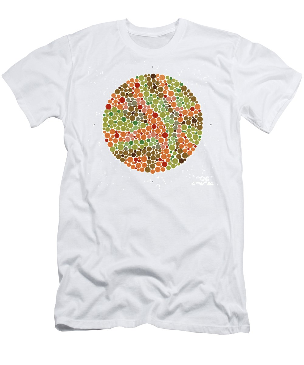Color Men's T-Shirt (Athletic Fit) featuring the photograph Ishihara Color Blindness Test by Wellcome Images