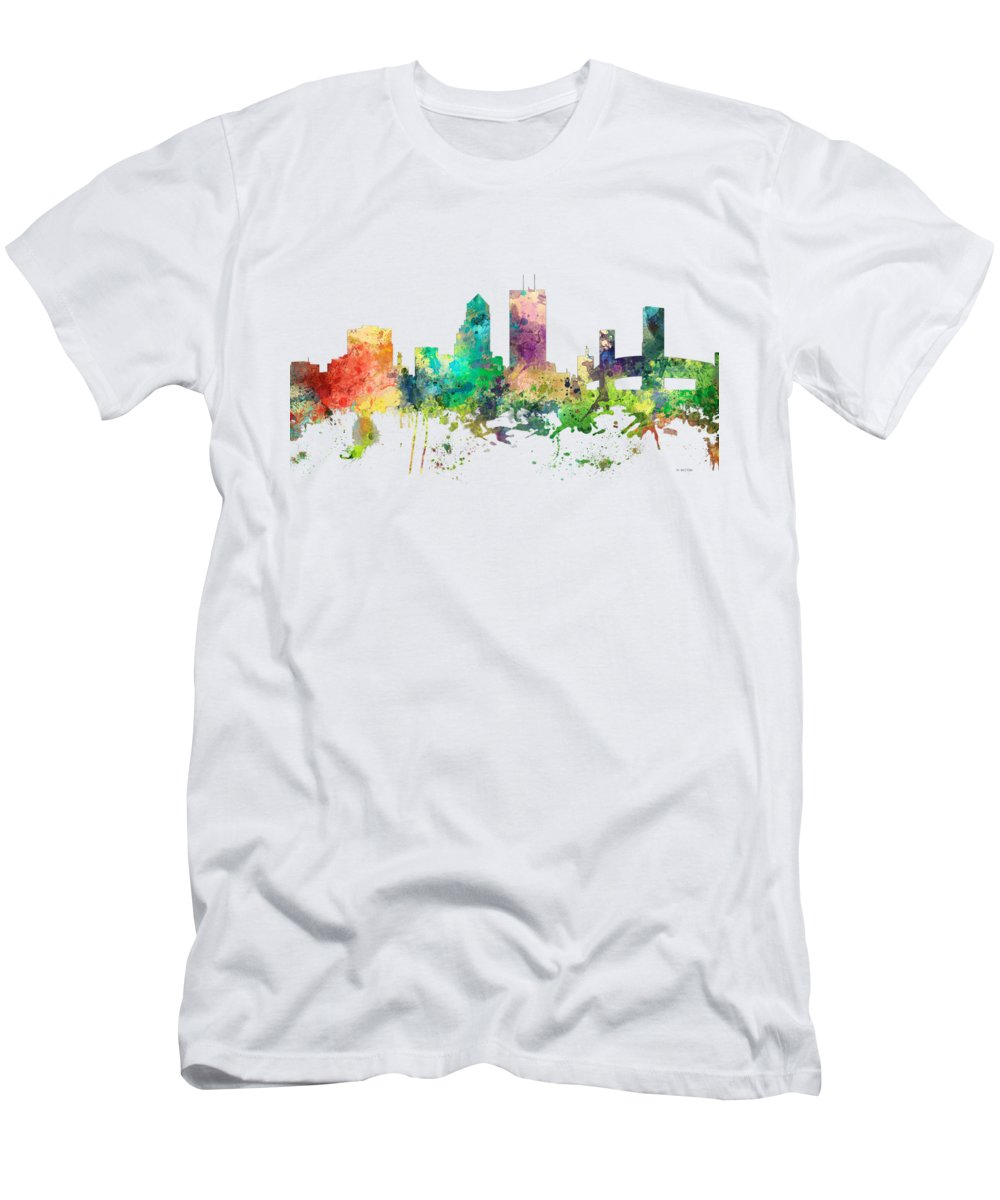 Jacksonville Florida Skyline Men's T-Shirt (Athletic Fit) featuring the digital art Jacksonville Florida Skyline by Marlene Watson