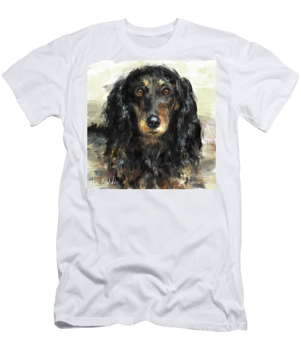 Dachshund Men's T-Shirt (Athletic Fit) featuring the digital art A Beautiful Artistic Painting Of A Dachshund by Idan Badishi