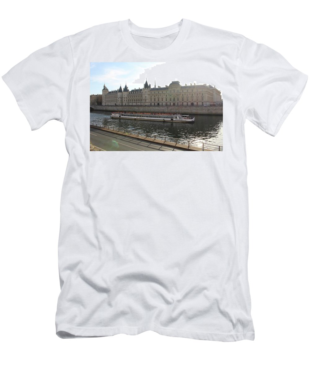 Water Men's T-Shirt (Athletic Fit) featuring the photograph A Boat On The River Seine by Rikki Prince