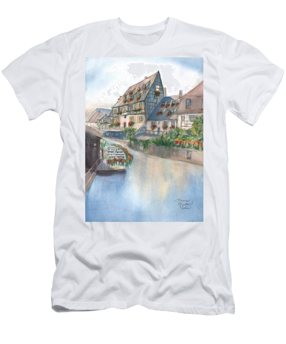 Colmar T-Shirt featuring the painting A Canal In Colmar by Laurie Martin-Cohn