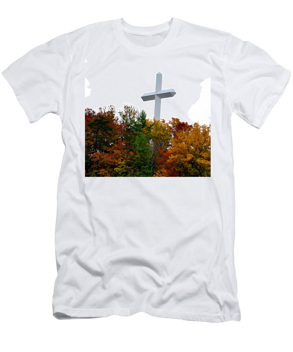 Smokey Mountain Men's T-Shirt (Athletic Fit) featuring the photograph A Cross In Tennessee by Brittany Horton