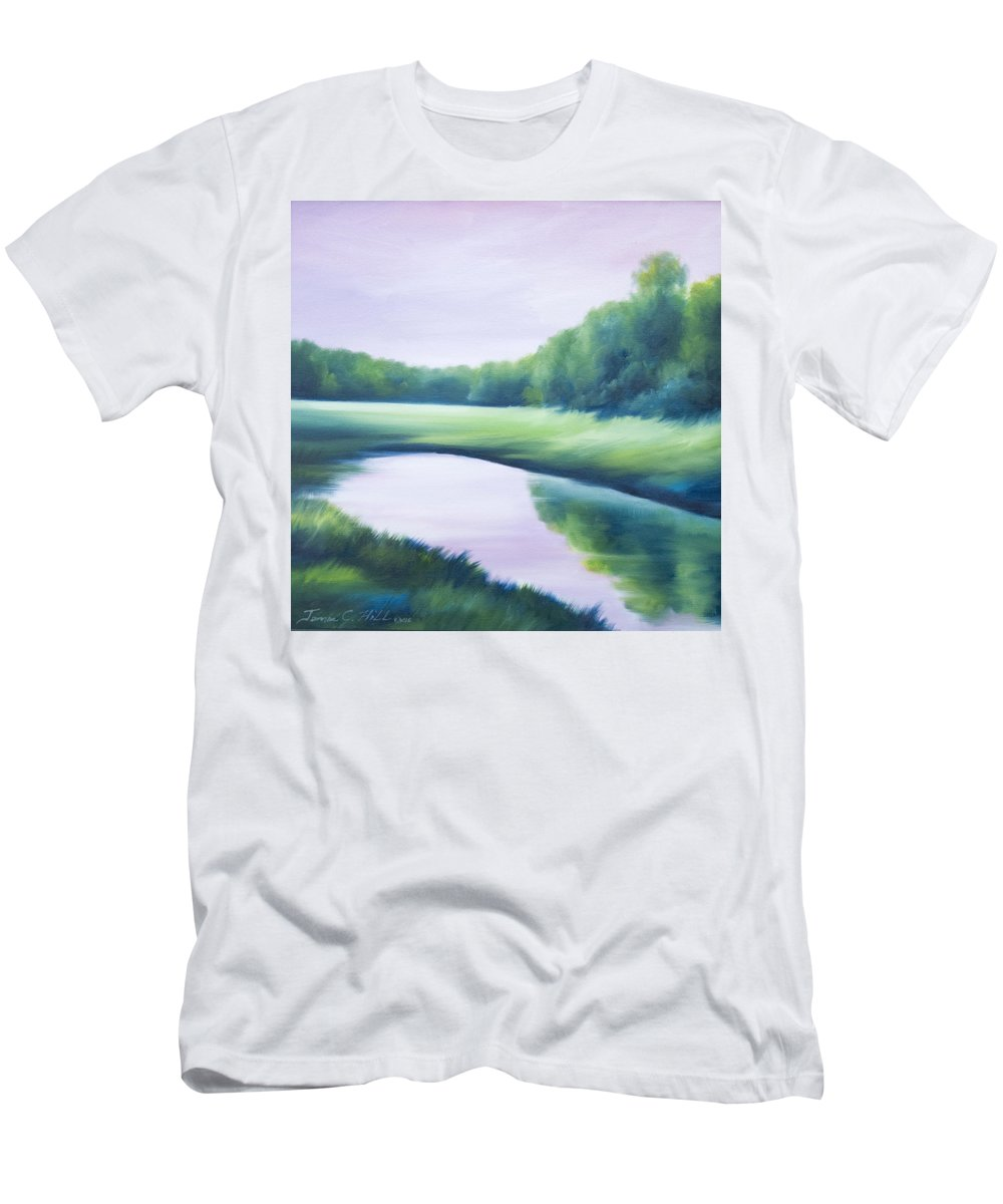 Nature; Lake; Sunset; Sunrise; Serene; Forest; Trees; Water; Ripples; Clearing; Lagoon; James Christopher Hill; Jameshillgallery.com; Foliage; Sky; Realism; Oils; Green; Tree; Blue; Pink; Pond; Lake Men's T-Shirt (Athletic Fit) featuring the painting A Day In The Life 1 by James Christopher Hill