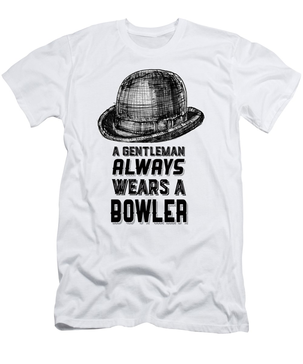 Gentleman Men's T-Shirt (Athletic Fit) featuring the drawing A Gentleman Always Wears A Bowler by Edward Fielding