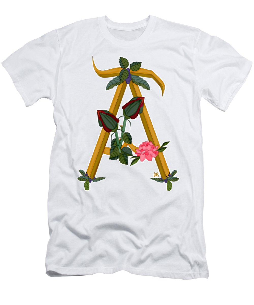 A Men's T-Shirt (Athletic Fit) featuring the painting A Is For Art by Anne Norskog