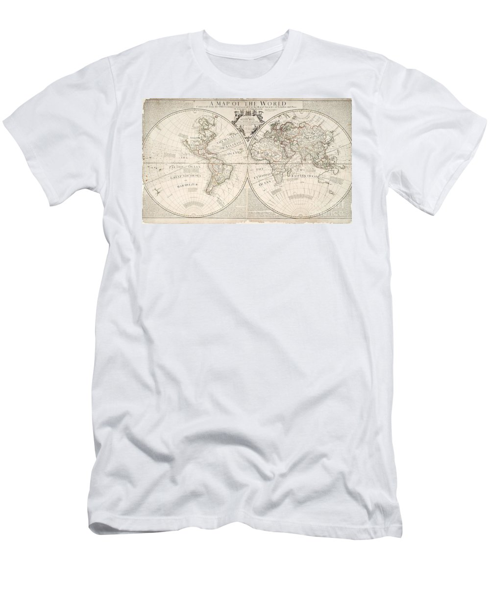 Map T-Shirt featuring the painting A Map of the World by John Senex